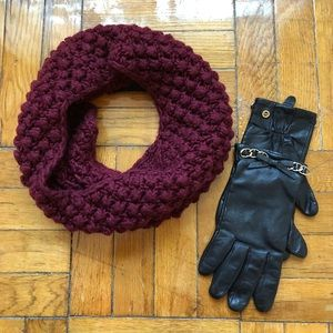 Michael Kors Leather gloves & H&M infinity scarf